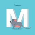 Mouse with Letter M Isolated. ABC, Alphabet.