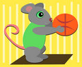 Mouse Loves to Play Basketball Royalty Free Stock Photography