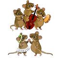 Mouse musical orchestra and a dancing couple Royalty Free Stock Photo