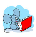 Mouse nibbles book fright illustration cartoon Royalty Free Stock Images