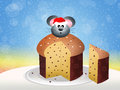 Mouse of panettone illustration Stock Photo