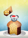 Mouse on panettone illustration of Stock Images