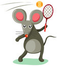 Mouse playing tennis Stock Photos