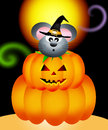 Mouse in the pumpkin on halloween Royalty Free Stock Photography