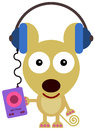 Mouse s music a wearing a headphone and listening to Royalty Free Stock Images