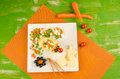 Mouse salad with cheese healthy food for children served in an attractive way Royalty Free Stock Photos