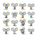 Mouse set funny cartoon against white Royalty Free Stock Images