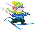 Mouse skier cheerful in bright yellow green hat and a scarf wearing a blue sweater with snowflakes dark green trousers and ski Royalty Free Stock Photo