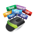 Mouse with social media signs illustration design over a white background Royalty Free Stock Photo
