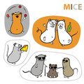 Mouse stickers set of cartoon vector illustrations in different situations Royalty Free Stock Photo