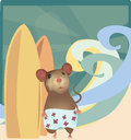 Mouse with Surf Boards on the Beach Royalty Free Stock Photo