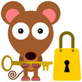 Mouse to unlock a with a key beside a padlock Royalty Free Stock Photo