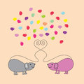 Mouse two and hearts love Royalty Free Stock Images