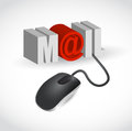 Mouse and word mail illustration design over white Royalty Free Stock Photo