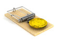 Mousetrap and bitcoin on white background. Isolated 3D image
