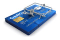 Mousetrap with credit cards clipping path included image Stock Photography
