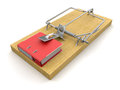 Mousetrap and document clipping path included image with Royalty Free Stock Image