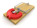 Mousetrap and euro sign clipping path included image with Royalty Free Stock Image