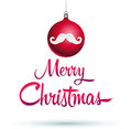 Moustache merry christmas design vector ball and Royalty Free Stock Photo