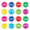 Moustache or mustache round colorful icons different types in circle set isolated on white Stock Image