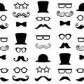 Moustache mustache vector seamless pattern background hipster