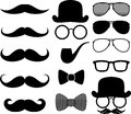 Moustaches silhouettes set of black and design elements isolated on white background Royalty Free Stock Photo