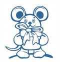 Mousy and gift contour Stock Photography