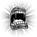 Mouth Open Halloween Monster Vampire Jaws Fang Stamp Print Black