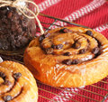 Mouth watering cinnamon roll rolls on cooling rack with raisin jar nearby Stock Photography