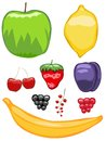 Mouth-watering fruit icons Royalty Free Stock Photography