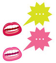Mouths and speech bubbles Stock Photography