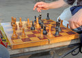 Before move chess game on the bench Royalty Free Stock Images