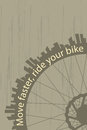 Move faster vintage style poster with a bike wheel and city silhouette Royalty Free Stock Images