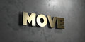 Move - Gold sign mounted on glossy marble wall - 3D rendered royalty free stock illustration