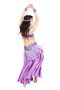 Move her hips beautiful woman dancing belly dance isolated on a white background Stock Photos