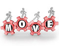 Move People Working Walking on Gears Teamwork Mission Stock Photo