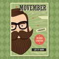 Movember poster design, prostate cancer awareness, hipster man with beard and moustache