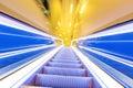 Movement of diminishing hallway escalator the Stock Images