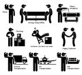 Mover services moving house office goods logistic cliparts icons a set of human pictogram representing the and transportation Royalty Free Stock Images