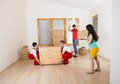 Movers in new house Stock Photo