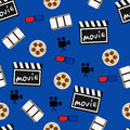 Movie abstract seamless pattern, movie background vector