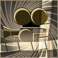 Movie art illustration of camera and film strip against abstract swirls drawn in vintage poster style with using sepia colors Stock Photo