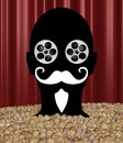 Movie buff abstract illustration of a person up to their neck in popcorn with reel eyes Royalty Free Stock Images