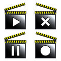 Movie cinema clapboard icons Stock Images