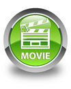 Movie (cinema clip icon) glossy green round button Royalty Free Stock Photo