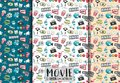 Movie cinema design. Seamless pattern set. Film theme background paper.
