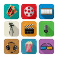 Movie and cinema icons icon set for the apps against white background Royalty Free Stock Photography