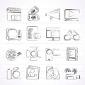 Movie and cinema icons vector icon set Stock Photo