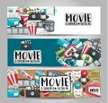 Movie cinema theme. Horizontal banner template set. Modern hand drawn doodle design.
