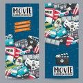 Movie cinema theme. Vertical banner template set. Modern hand drawn doodle design.